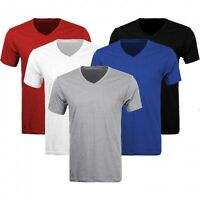 3-6 Pack Lots Men's Plain Slim Fit Plain V-Neck T-Shirts Muscle Tee Short Sleeve