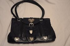 Western cowgirl handbag purse blue leather canvas hearts buckle