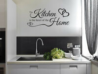The KITCHEN Is The Heart of A Home, Wall Art Sticker, PVC Decal, Modern Transfer