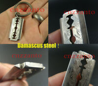 "Damascus steel "" Razor blade "" shaped + Titanium key chain ring necklace pendant"