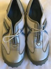 Privo Women's Slip On Tennis Shoes,White, Gray and Blue, Size 7.5 M