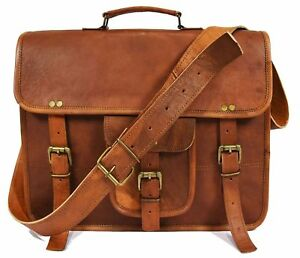 Leather Vintage Crossbody Messenger Satchel Bag By Aaron Leather New
