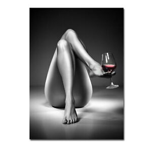 Sexy Girl Wine Glass Painting Black White Body Art Pictures Wall Art Decor Mural