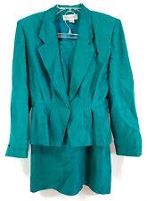 Argenti Vintage Teal Green 2-Piece Suit Jacket & Skirt 100% Silk Women's Size 6