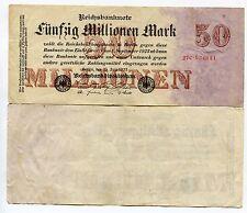 Old German 50 Million Mark Reichsbank Note Inflation Money 1923 in VF condition