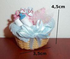 panier avec accessoires bébé miniature,biberon, maison de poupée,vitrine  C4e