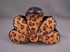 """Brown Cheetah leopard print plastic 3"""" long barrette big hair clip claw clamp"""