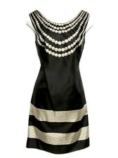 MARCHESA Notte Black Pearl Necklace Print Sleeveless Silk Sheath LBD Dress 2