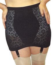 6XL / 42-waist Vintage New Open Girdle BLACK Lace-Powernet 4 Metal Garters 212