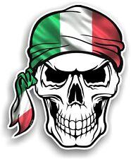 LARGE Skull With HEAD Bandana & Italy Italian il Tricolore Flag car sticker
