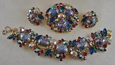 SENSATIONAL! Vtg JULIANA Purple Easter Egg Bracelet Brooch & Earrings Set!