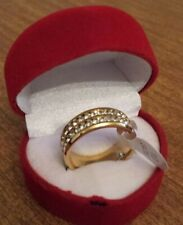 8MM Couple Full Crystal Sapphire Engagement Wedding Band Ring Gold Size10