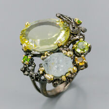 Fine art jewelry Natural Lemon Quartz 925 Sterling Silver Ring Size 9/R97530
