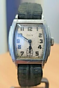 Deco style Elgin USA chrome plate white dial manual watch