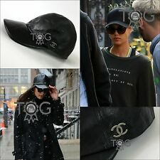 ICONIC RARE Chanel CC LOGO Black Leather Quilted Baseball Cap Hat Size S M 55 56