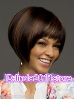 New sexy Women's ladies short Brown Mix Color Natural Hair full wigs + wig cap