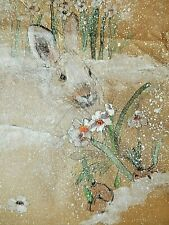 Debbi Chan Watercolor on Silk with Embroidered Spring Bunny unframed Signed