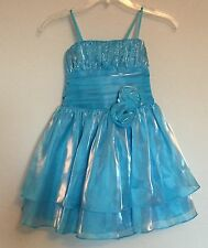 Wonder Girl Baby Blue Teal Wedding Party Special Occasion Flower Dress Size 6