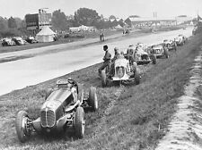 Maserati 4CL and 8CM and other race cars retired at Brooklands circa 1938