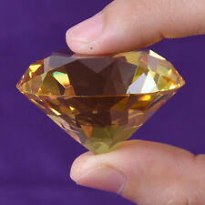 30mm Yellow Crystal Diamond Shape Paperweight Gem Display Ornament AU