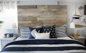 """Rustic King Size Bed Reclaimed Pallet wood DIY Headboard 78"""" wide x 30"""" tall"""