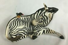 The Franklin Mint 1986 Happy Landing! Zebra with bird Porcelain Figurine