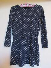 Navy Blue & White Spotted Cotton Short Ralph Lauren Dress - 8 - 9 - 10 years