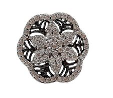925 SOLID SILVER STERLING HANDMADE WHITE BLACK RHODIUM FLOWER RING CASUAL WEAR