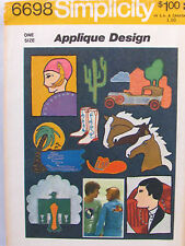 Uncut Iron On Transfer Appliques Art Deco Design Simplicity 6698 Sewing Pattern