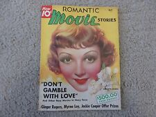 1936 Romantic Movie Stories Magazine  Claudette Colbert cover