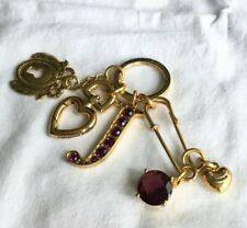 JUICY COUTURE KEYCHAIN GOLD KEY FOB CHAIN HEART PURSE CHARM RETIRED!