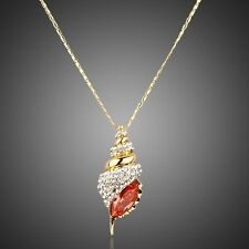Fashion Cute Winkles Shell Gold Plated Austria Crystal Chain Necklace Pendant