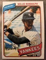 1980 Topps Willie Randolph Baseball Card #460 Yankees High-Grade O/C