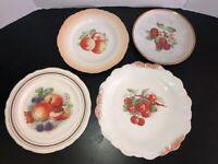 Antique Collectors China Plates - Thompson, Pasco, Dresden, Harker - 4pc Fruit M