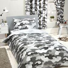 Gris Camouflage Armée Set Housse de Couette Simple Enfants 2 en 1 Design