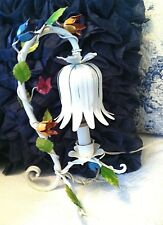 Vtg. 1900-1940 ITALIAN TOLEWARE BOUDOIR FLORAL LAMP White Multi Color Tulips.