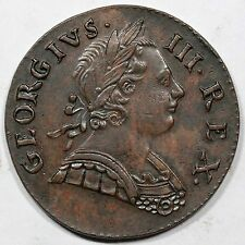 1773 George III British Imitation Half Penny Colonial Copper Coin