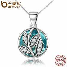 Bamoer S925 Sterling Silver Necklace Deciduous leaves Pendant With CZ For Women