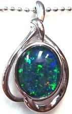 Opal Size10x8mm Lady Gift Natural Opal Pendant Solid 925 Sterling Silver 18k WGP