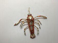 Vtg Handmade Glass & Plastic Bead Figural Lobster Ornament - Made In Czechoslova