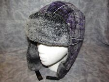 Woolrich Trapper Aviator Bomber Velour Purple Gray Faux Fur Hat One Size