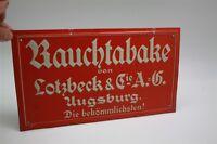 Lotzbeck Rauchtabake Augsburg - Molto Vecchio Latta Werbeschild D Del 1930