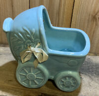 Vintage Ceramic Baby Nursery Planter Vase BabyBuggy Carriage Blue With Bow