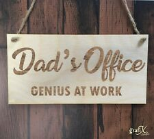 Dad's Office Genius At Work Wooden Plaque Sign Laser Engraved pq78