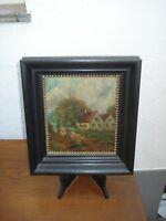 antikes Ölbild - Bauernhaus Frau am Brunnen - Öl/Holz - aus 1867_signiert_Rahmen