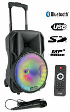 Mobiles Soundsystem PARTY-10RGB mit Akku LEDs Mikrofon SD USB Bluetooth & Radio