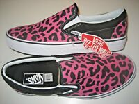 Vans Classic Slip On Mens Leopard Black Pink Canvas Skate Boat Casual Shoes NWT