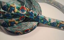 """Blue Smurf Characters inspired 7/8"""" Grosgrain Ribbon - By The Yard - USA Seller"""