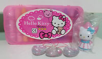 HELLO KITTY BOX SET OF CRAYONS AND 3 DANGLERS / CHARMS FROM LUCKY DIP MACHINES