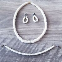 Vintage Pukka Shell Necklace, Bracelet, Earrings Estate Find Set Genuine Pukkas